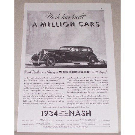 1934 Nash Twin Engine Automobile Vintage Print Car Ad - Nash Has Built..