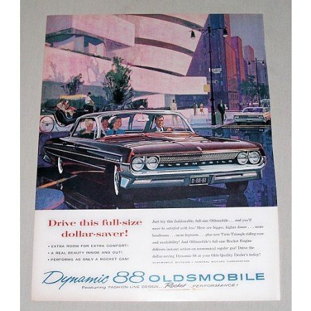 1961 Oldsmobile Dynamic 88 Automobile Color Print Car Ad