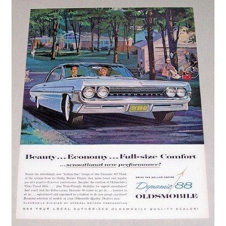 1961 Oldsmobile Dynamic 88 Automobile Color Art Print Car Ad