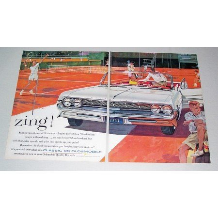 1961 Oldsmobile Classic 98 Convertible Automobile 2 Page Color Print Car Ad