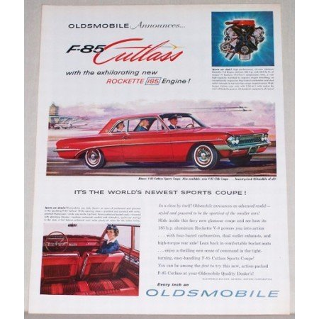 1961 Oldsmobile F-85 Cutlass Sport Coupe Automobile Color Print Car Ad