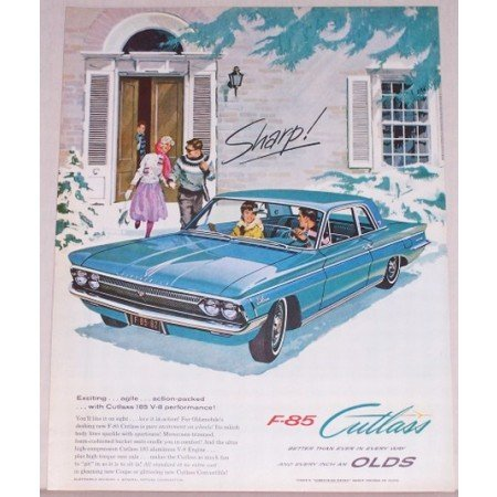 1962 Oldsmobile Cutlass F-85 Automobile Color Art Print Car Ad - Sharp!