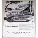 1960 Oldsmobile 4 Door Station Wagon Automobile Vintage Print Car Ad