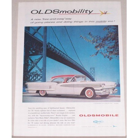 1958 Oldsmobile Automobile Color Print Car Ad - Oldsmobility