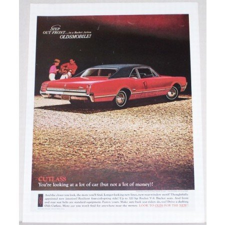 1966 Oldsmobile Cutlass Sports Coupe Auto Car Color Ad