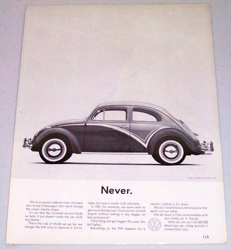 1961 Volkswagen VW Automobile Vintage Print Car Ad - Never