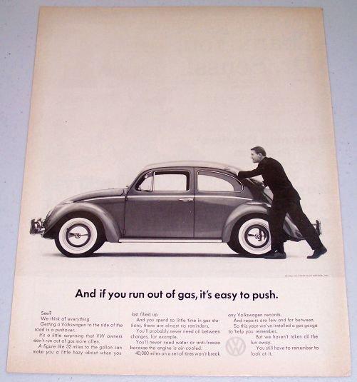 1962 Volkswagen VW Automobile Vintage Print Car Ad - Easy To Push