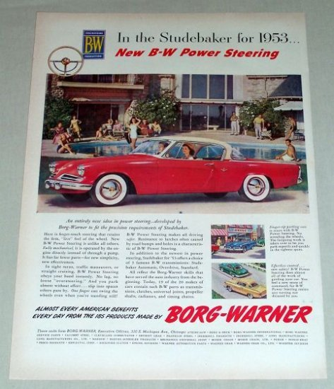 1953 Borg-Warner 53 Studebaker 2Dr Hardtop Automobile Color Print Car Ad