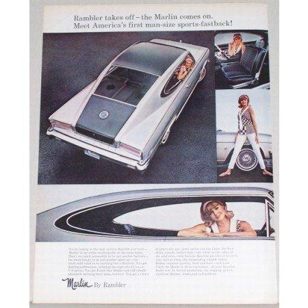 1965 Rambler Marlin Automobile Color Print Car Ad - Rambler Takes Off