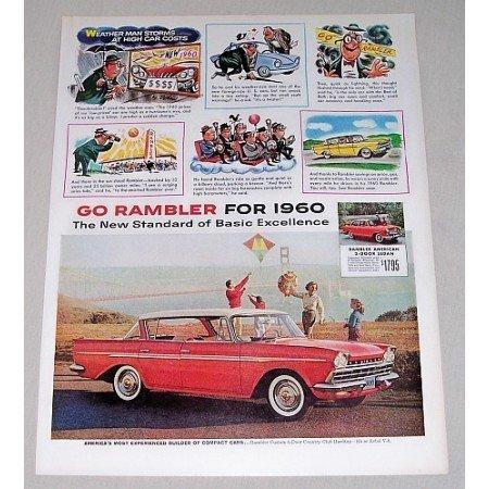 1960 Rambler Custom 4DR Country Club Automobile Color Print Car Ad