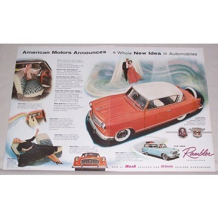 1955 Rambler Country Club Automobile 2 Page Color Print Car Ad