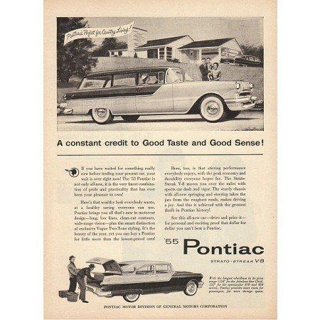 1955 Pontiac 2DR Colony Wagon Automobile Vintage Print Car Ad