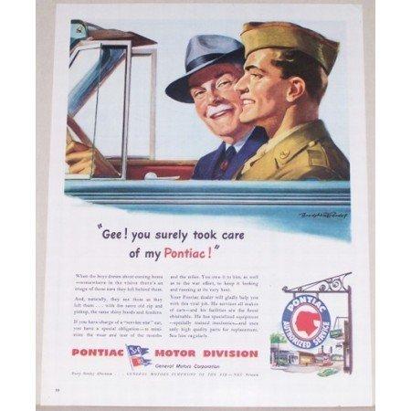 1944 Pontiac Motor Division Crandell Art Color Wartime Print Ad