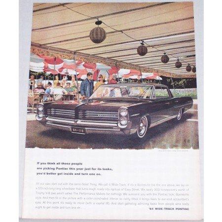 1964 Pontiac Bonneville Automobile Color Print Car Ad