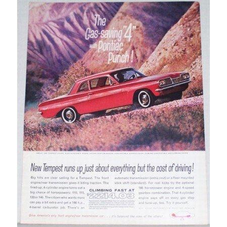 1962 Pontiac Tempest Coupe Car Automobile Color Print Car Ad - Gas Saving 4