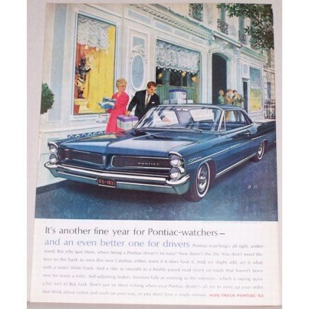 1963 Pontiac Catalina 2 Door Automobile Color Print Car Ad