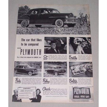 1949 Plymouth 4Dr Sedan Automobile Vintage Print Car Ad