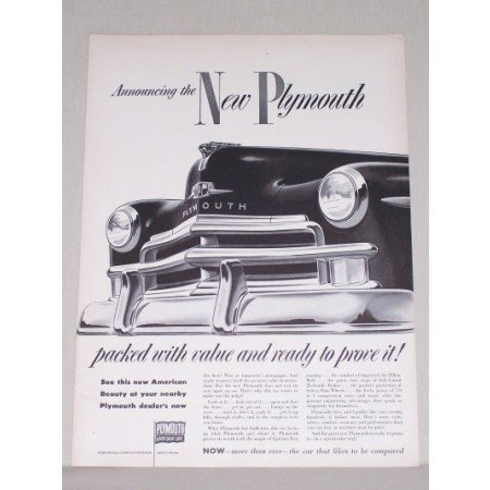1950 Plymouth Automobile Vintage Print Car Ad - Packed With Value