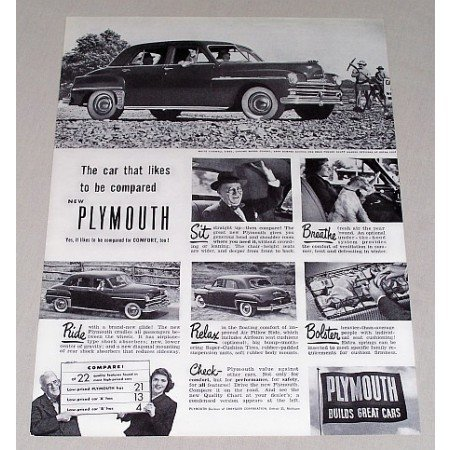 1949 Plymouth 4 Door Sedan Automobile Vintage Print Car Ad