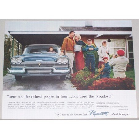 1958 Plymouth Automobile Color Print Car Ad - Were The Proudest