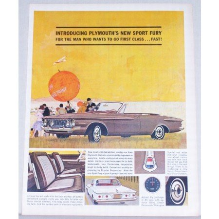 1962 Plymouth Sport Fury Convertible Automobile Color Print Car Ad