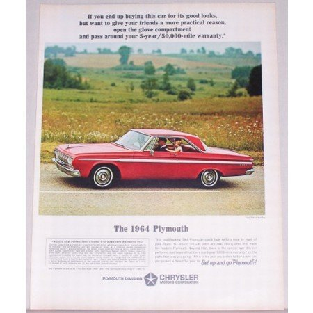 1964 Plymouth Fury 2 Door Hardtop Automobile Color Print Car Ad