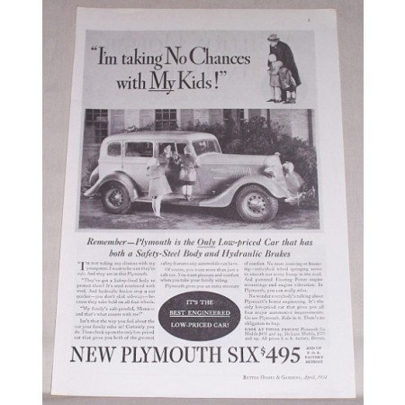 1934 Plymouth Six Automobile Vintage Print Car Ad - Taking No Chances