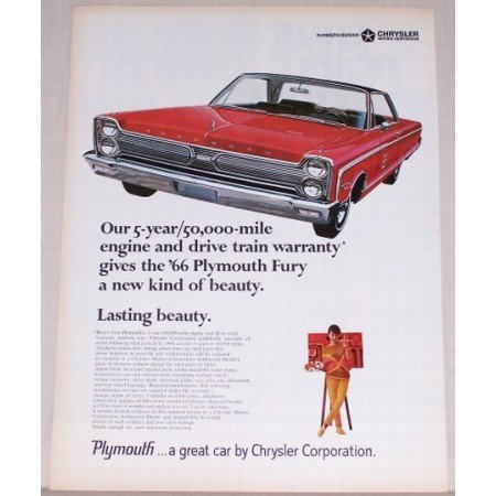1966 Plymouth Fury Automobile Color Print Car Ad - Lasting Beauty