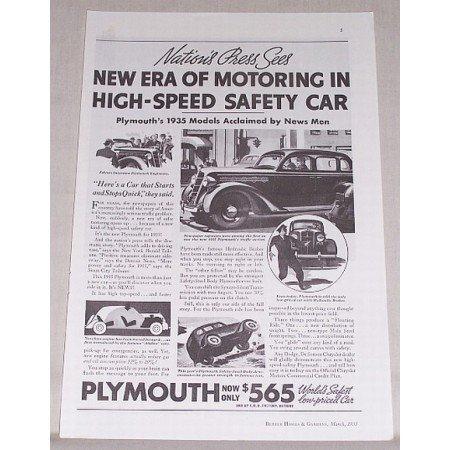 1935 Plymouth Sedan Automobile Vintage Print Car Ad - Nation's Press Sees...
