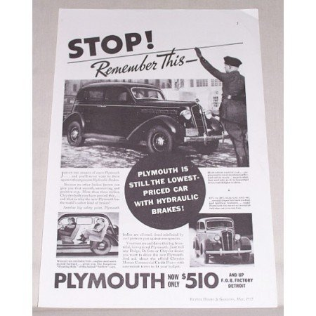 1935 Plymouth Sedan Automobile Vintage Print Car Ad - STOP Remember This