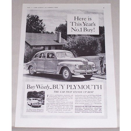 1941 Plymouth Sedan Automobile Vintage Print Car Ad - This Years No. 1 Buy!