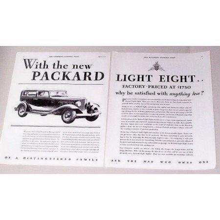 1932 Packard Light Eight Five Passenger Sedan Automobile Vintage Print Car Ad
