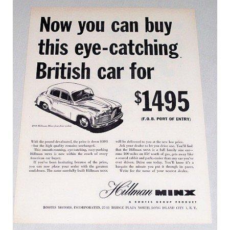 1949 Hillman Minx 4 Door Sedan Automobile Vintage Print Car Ad