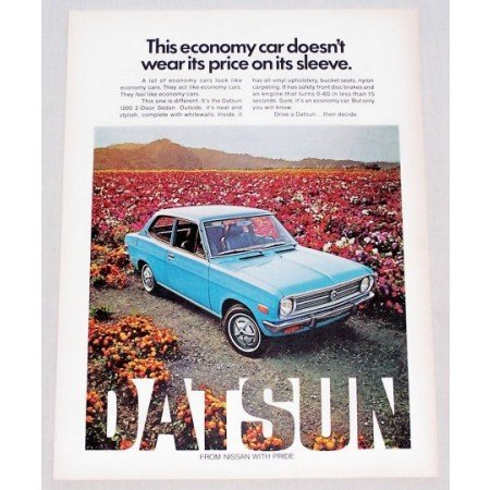 1972 Datsun 1200 Sedan Automobile Color Print Car Ad