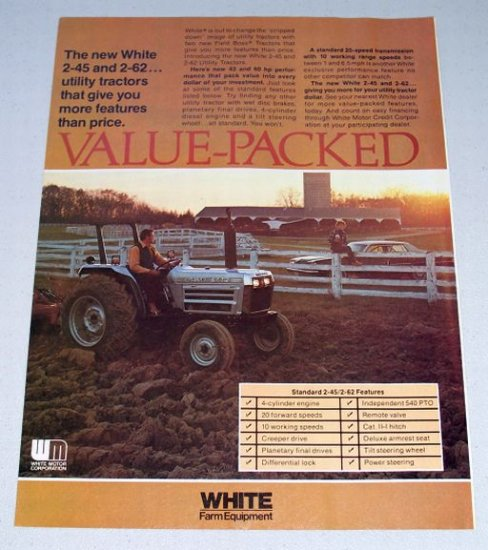 1980 WHITE Utility Tractor Vintage Color Print Ad