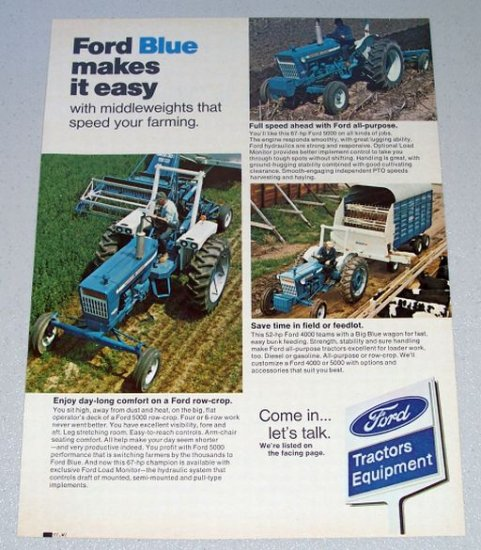 1973 Ford Tractor 5000 Parts : Ford  farm tractors vintage color print ad