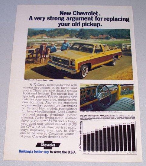 1973 CHEVROLET Cheyenne Super Pickup Truck Vintage Color Print Ad