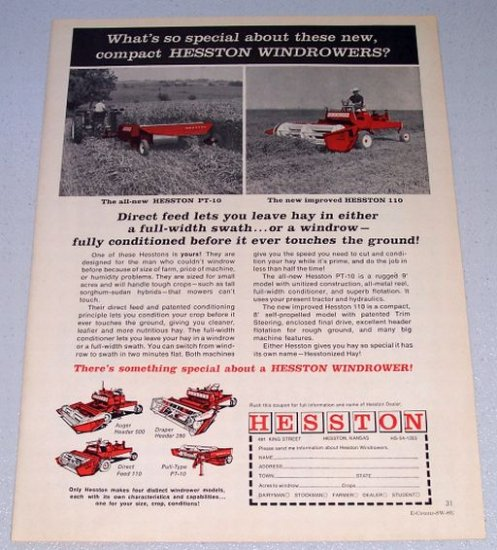 1966 HESSTON PT-10 Pull Type 110 Self Propelled Windrowers Print Ad
