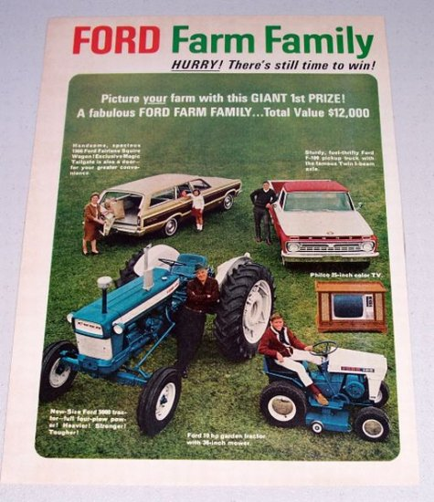 1966 FORD FARM FAMILY SWEEPSTAKES 2 Page Vintage Print Ad