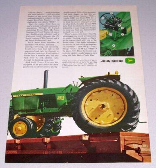 1966 JOHN DEERE 2510 Farm Tractor 2 Page Color Print Ad