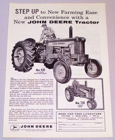 1958 JOHN DEERE 430 Row-Crop Utility Tractor Print Ad