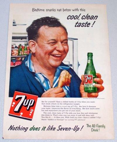 1956 7UP Soda Beverage Art Color Print Ad - Bedtime Snacks Eat Better