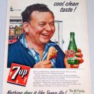 1956 7UP Soda Beverage Art Color Print Ad - Bedtime Snacks Eat Better