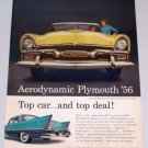 1956 PLYMOUTH Belvedere Convertible Automobile Color Print Car Ad