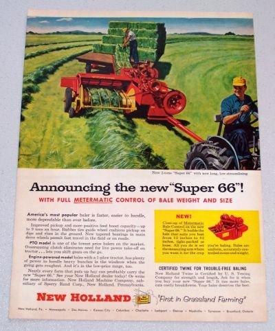 1956 NEW HOLLAND Super 66 Hay Baler Color Art Print Ad