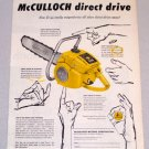 1956 McCULLOCK D-44 Direct Drive Power Chain Saw Print Ad