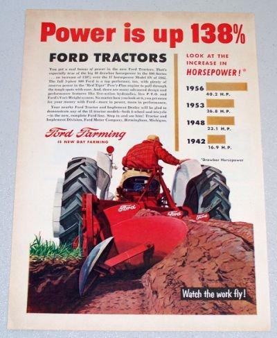 1956 FORD Farming Drawbar Horsepower Color Art Print Ad