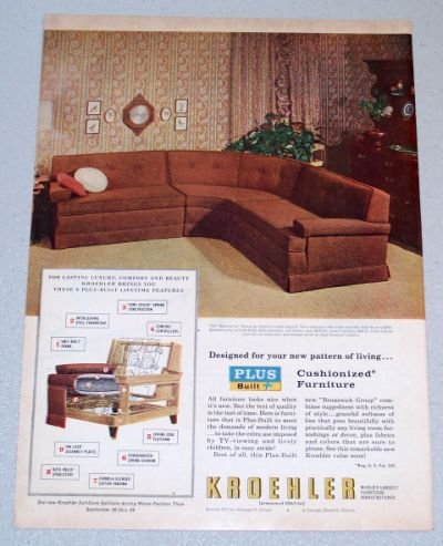 1956 KROEHLER Brunswick Twin Sectional Soda Color Print Ad