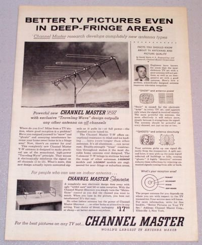 1956 CHANNEL MASTER T-W Traveling Wave Antenna Print Ad