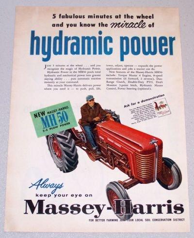 1956 MASSEY HARRIS MH50 Farm Tractor Color Art Print Ad
